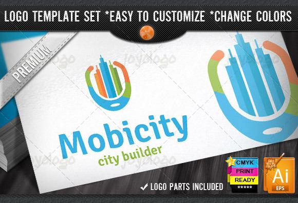 Retro Builder City Mobile Logo