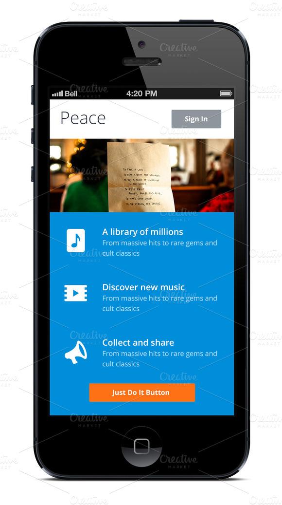 -%60 IPhone App Template Blue