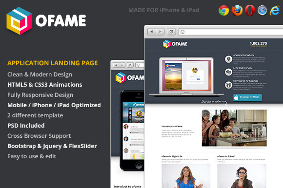 OFame Application Landing Page
