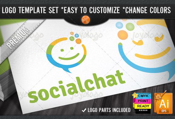 Circle People Smile Social Chat Logo