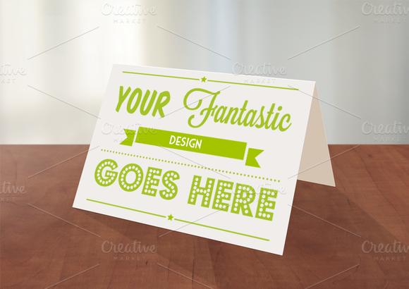 greeting card photoshop mockup card templates on creative market. Black Bedroom Furniture Sets. Home Design Ideas