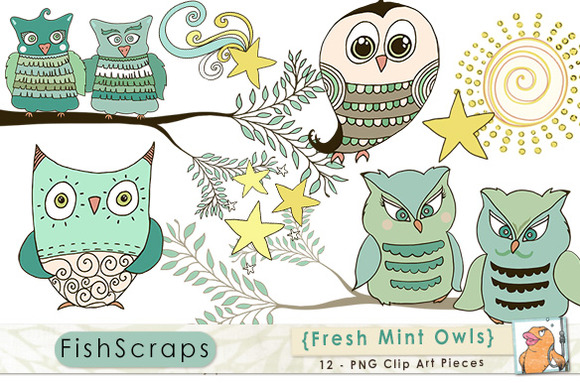 Mint Green Owl ClipArt ~ Illustrations on Creative Market