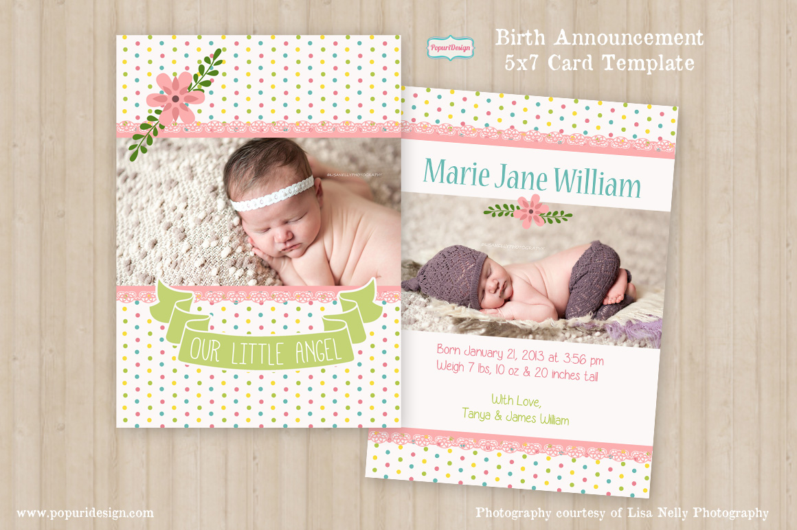 5x7 birth announcement card card templates on creative market. Black Bedroom Furniture Sets. Home Design Ideas
