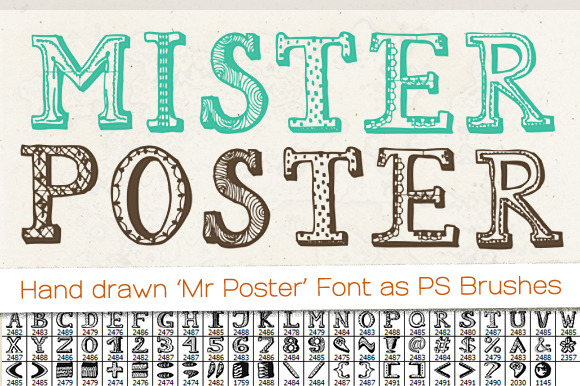 Hand Drawn Mr Poster Font Brushes Brushes On Creative