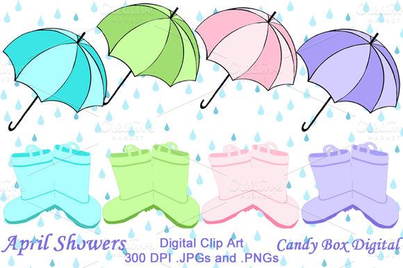 April Showers Clip Art ~ Illustrations on Creative Market