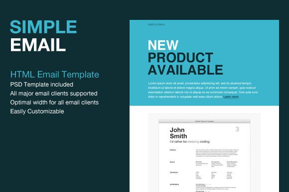 Simple HTML Email Template   Website Templates on Creative Market sMKyoGZi