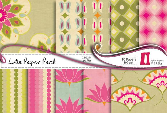 Pink Lotuses Digital Papers