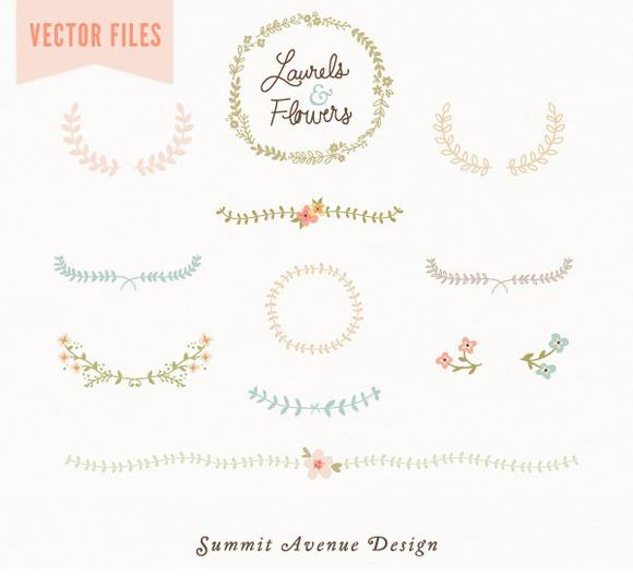 Laurel Flowers Vintage Vector