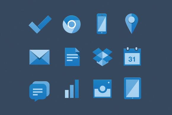 Flat Blue Web Icons