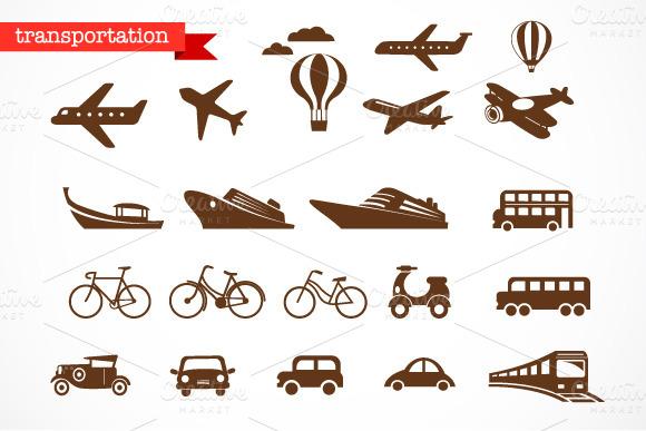 Transportation Vector Icons Set