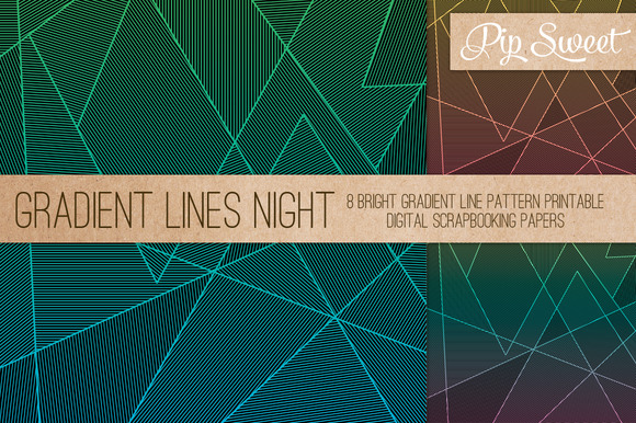 Gradient Fine Line Night 8 Patterns