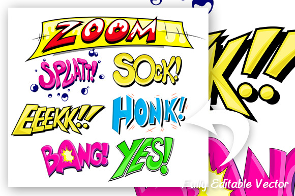 Comic Expression Vector Text Set