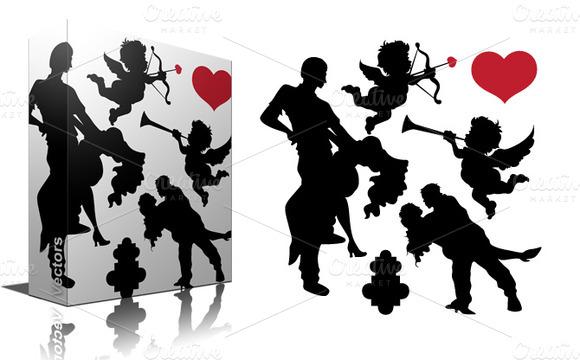 Valentines Silhouette Vectors