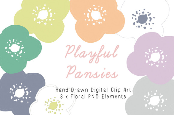 Playful Pansies Clip Art