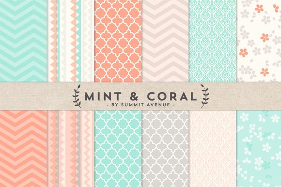 Mint Coral Digital Paper Patterns