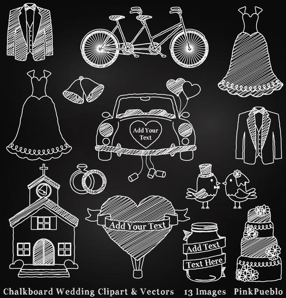 Chalkboard Wedding Clipart Vectors