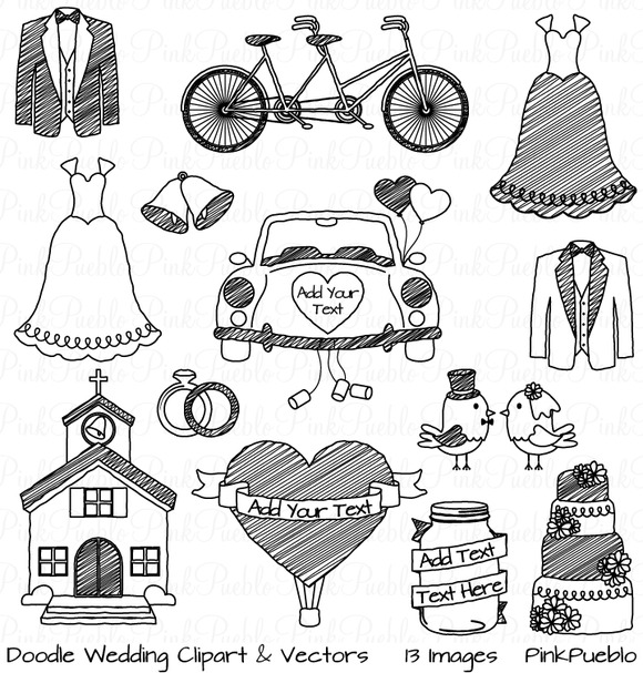 Doodle Wedding Clipart And Vectors