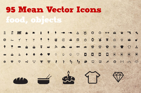95 Food Objects Icon Set