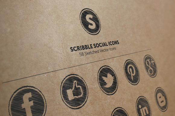 58 Scribble Social Icons