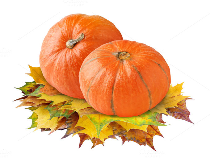 Pumpkins On Autumn Leaves Isolated Food amp Drink Photos