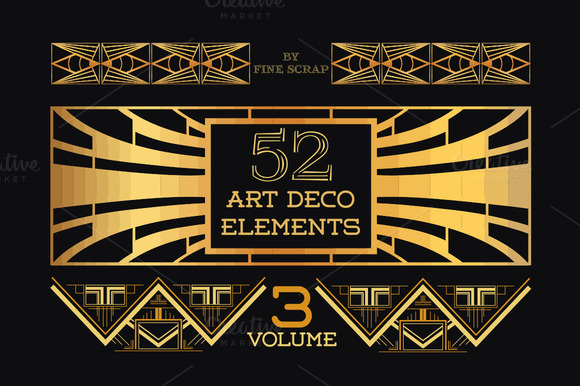 52 art deco design elements vol 3 illustrations on for Deco 5 elements
