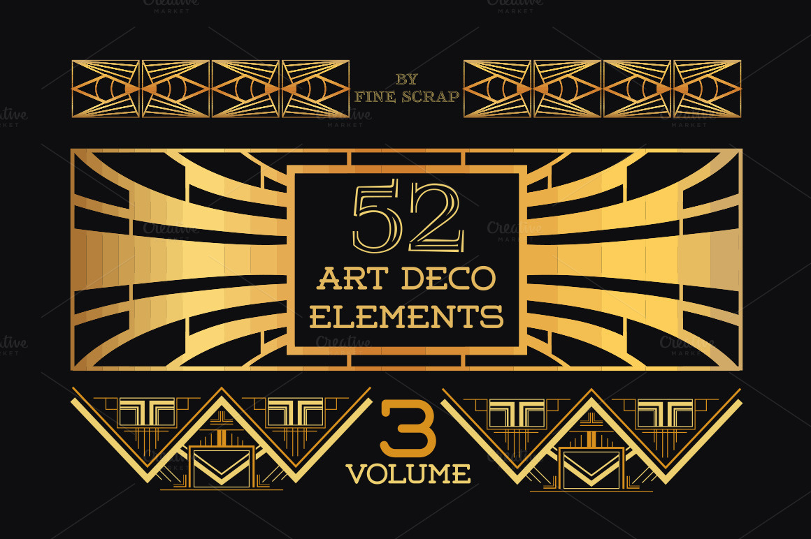 52 art deco design elements vol 3 illustrations on for Design art deco