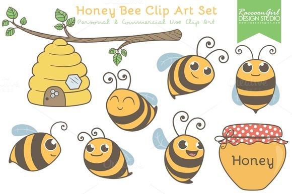 Honey Bee Clip Art Set Illustrations On Creative Market
