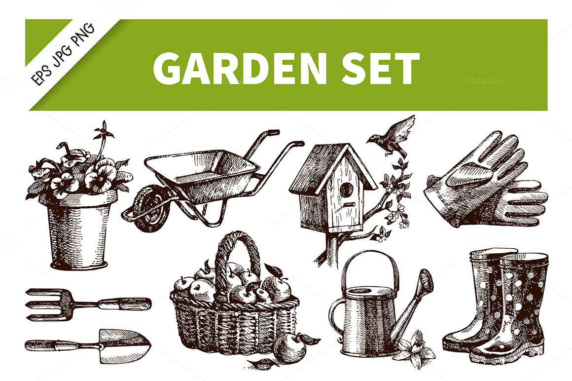 Hand drawn garden vintage set illustrations on creative for Gardening tools drawing