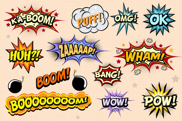 Comic Book Action Words Comic Book Vector Words