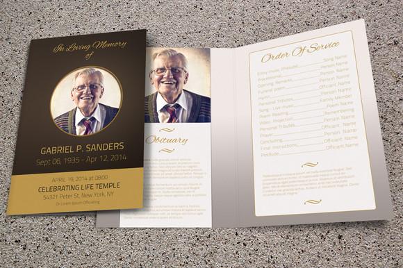Funeral program template bi fold brochure templates on for Memorial brochure template