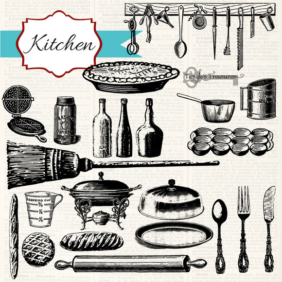 Vintage Kitchen Clipart & Brushes