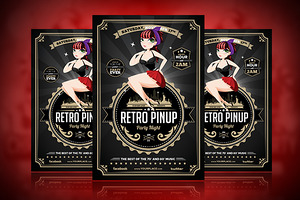 Retro Pinup Party Flyer Template