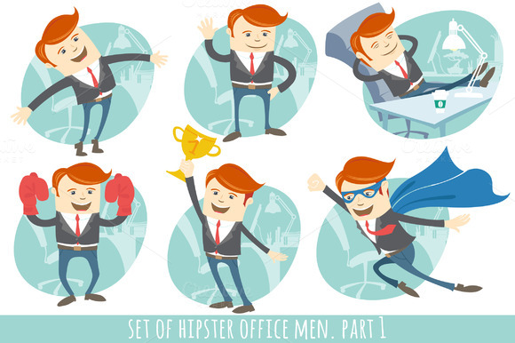 Office men set. Part 1 - Illustrations