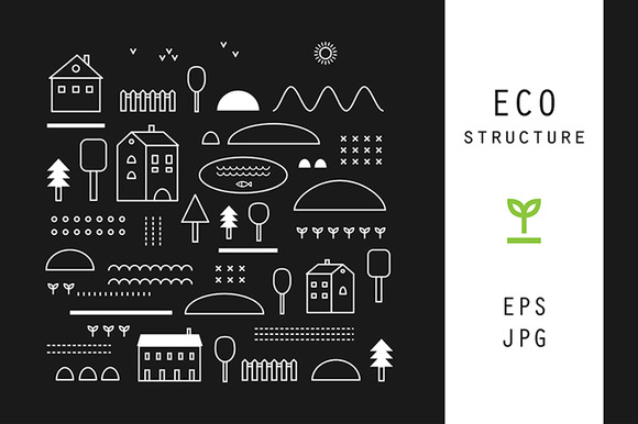 Eco structure. 16 patterns - Illustrations