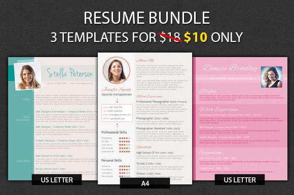 resume bundle resume templates on creative market