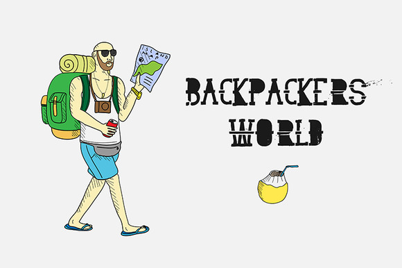 Backpackers world. Travel doodles. - Illustrations