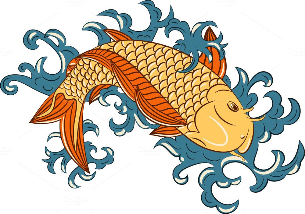 Japanese style koi carp fish illustrations on creative for Koi carp art