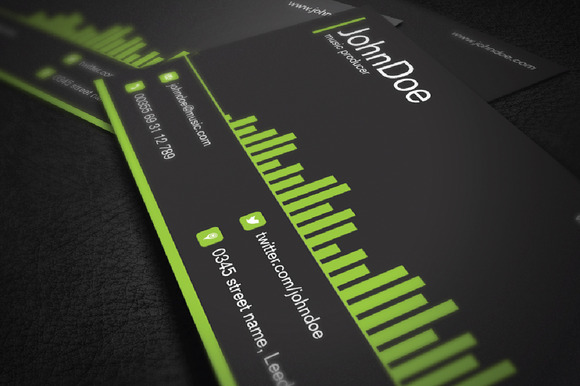 Music business card business card templates on creative for Creative music business cards