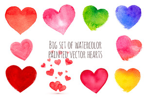 36 watercolor painted vector hearts