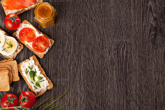 Tasty canapes food border background ~ Food & Drink Photos