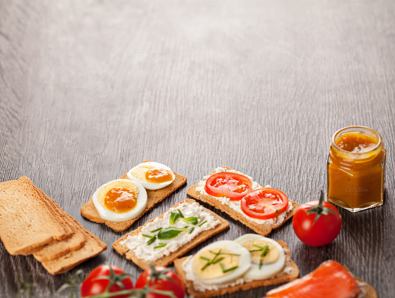 Tasty Canapes Food Border Background Food Drink Photos On Creative Market