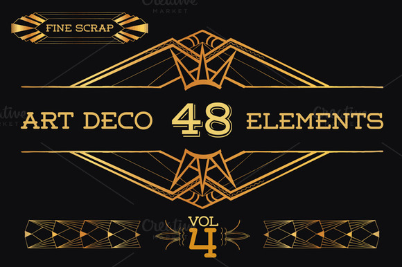 48 hand drawn art deco elements vol4 illustrations on