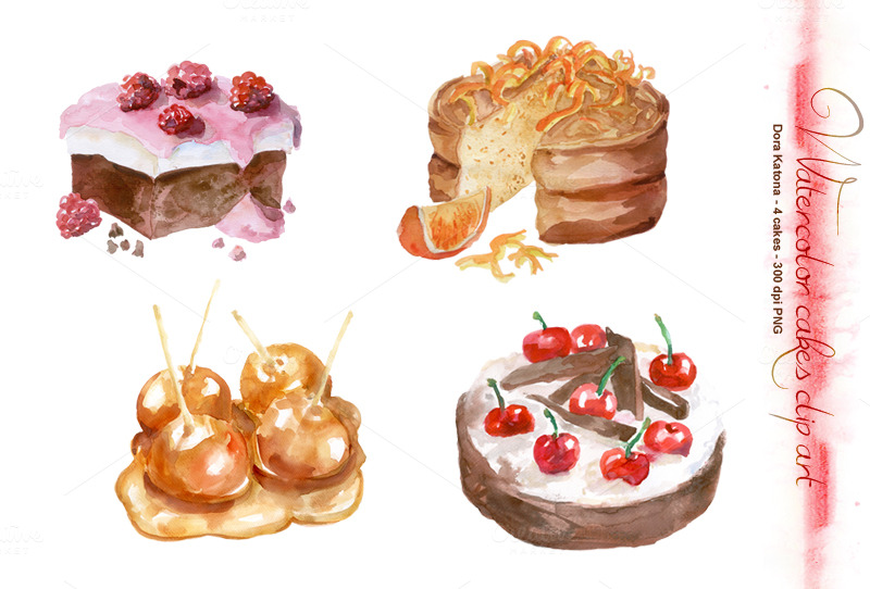 Watercolor Cake Clip Art : Watercolor Cakes Clip Art ~ Illustrations on Creative Market