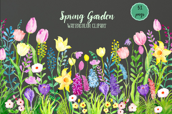 Watercolor Clipart Spring Garden ~ Illustrations on ...