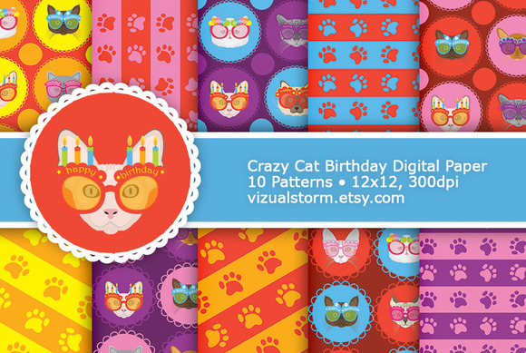Birthday Cat Digital Paper