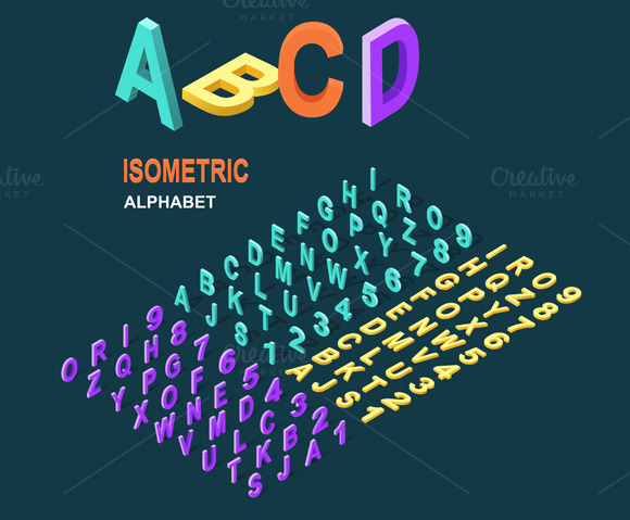 Isometric Design Style Alphabet