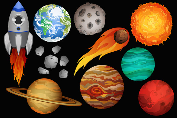 Space Clipart Vector PNG JPG Set