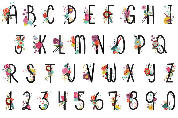 Floral Letters Numbers Vector PNG