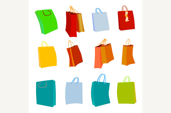 Set Of Colorful Empty Shopping Bags