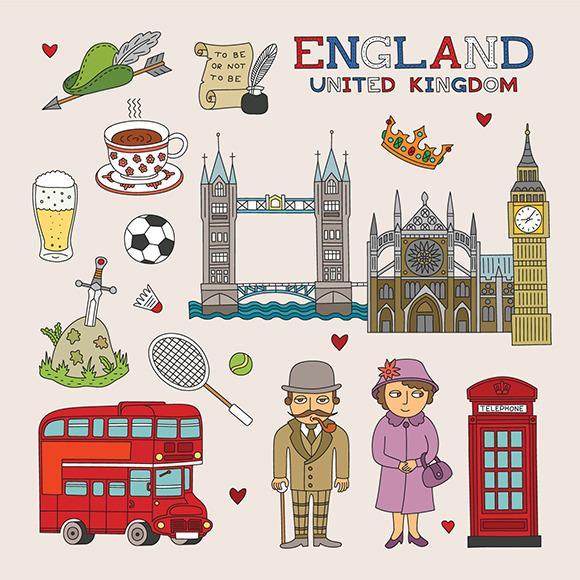 UK Travel Doodle Art